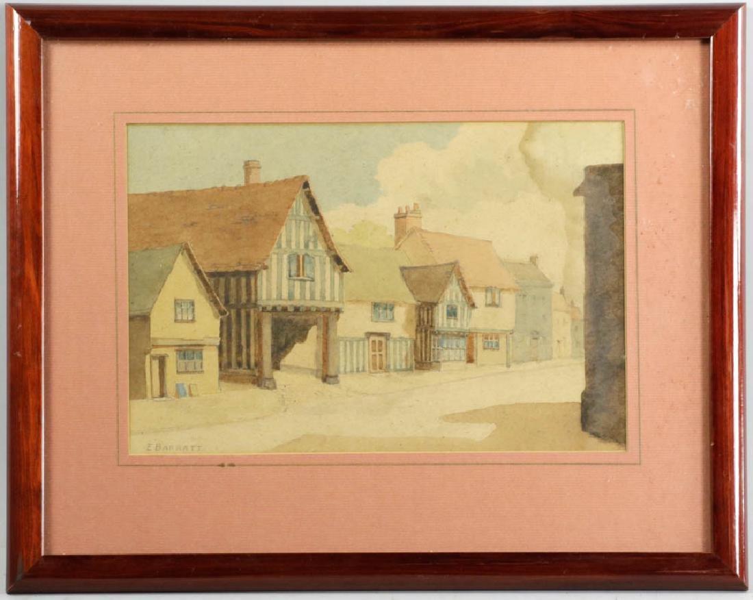 E. Barratt Village Scene Signed Watercolor