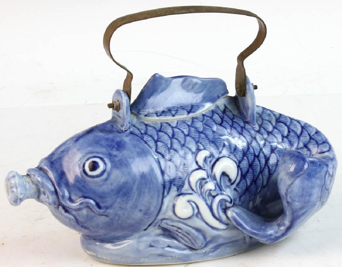 Chinese Porcelain Koi Teapot