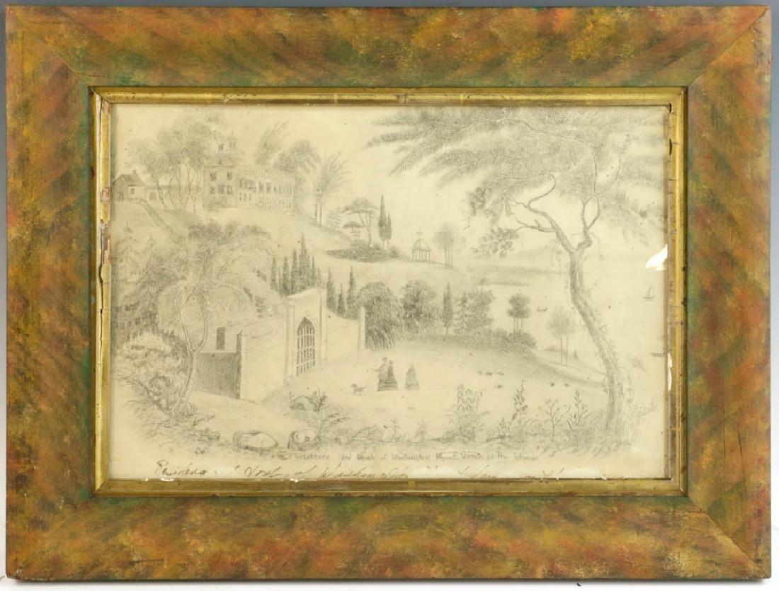 19thC Drawing, Tomb of George Washington