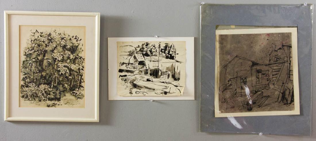 Earle B. Winslow Three Pen & Ink Drawings