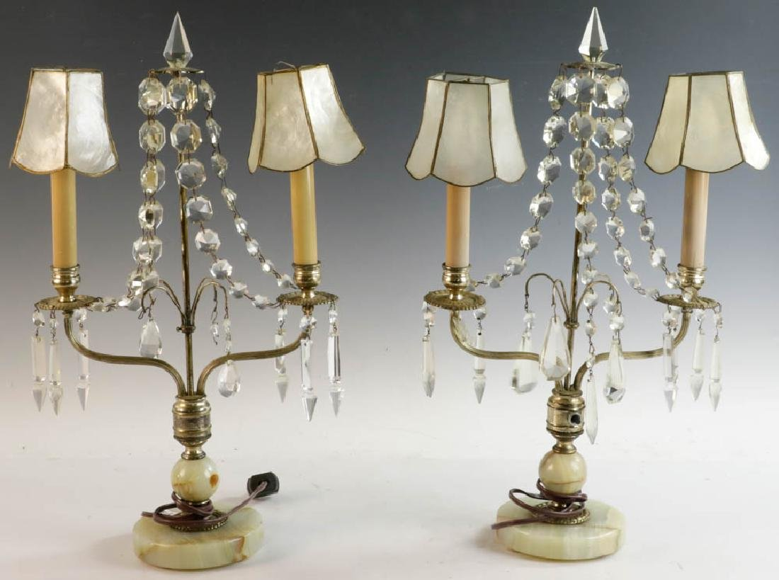 Pair of Table Lamps with Onyx Bases
