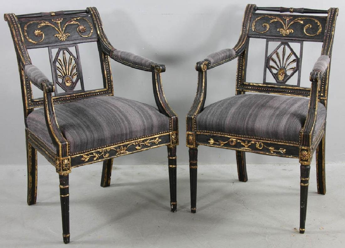 Pair of 19thC Upholstered Armchairs