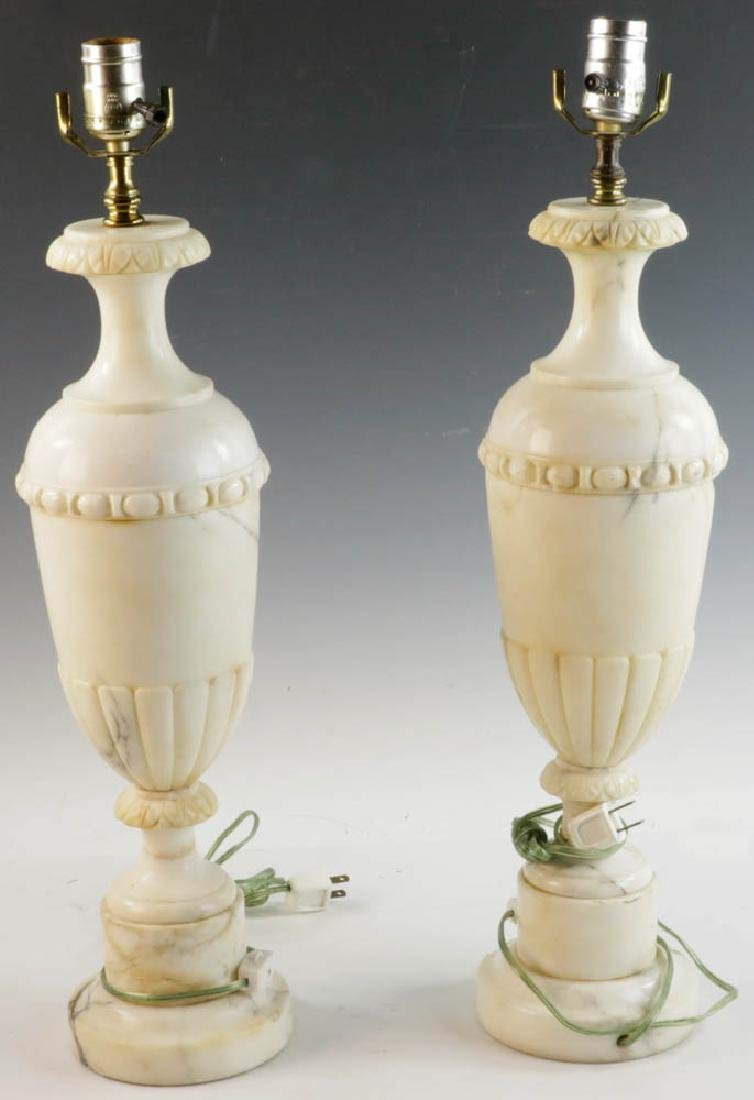 Pair of Antique Classical Marble Urn Lamps