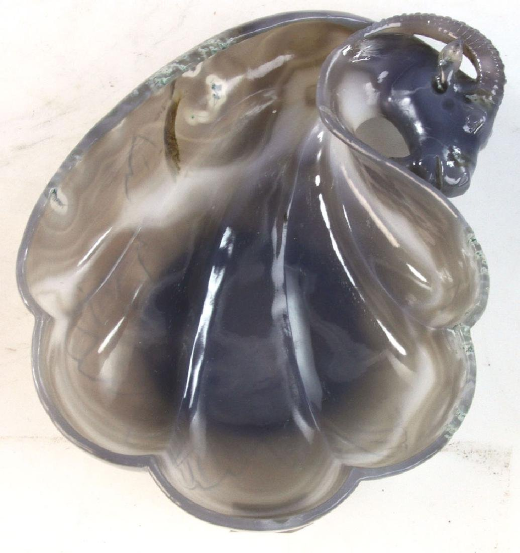 Carved Grey Agate Low Dish