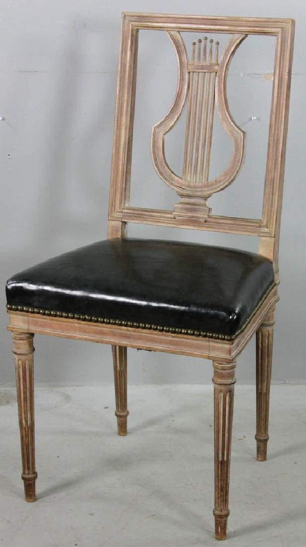 Side Chair with Lyre Back, Leather Seat
