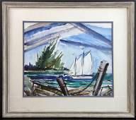 View of Sailboat Watercolor