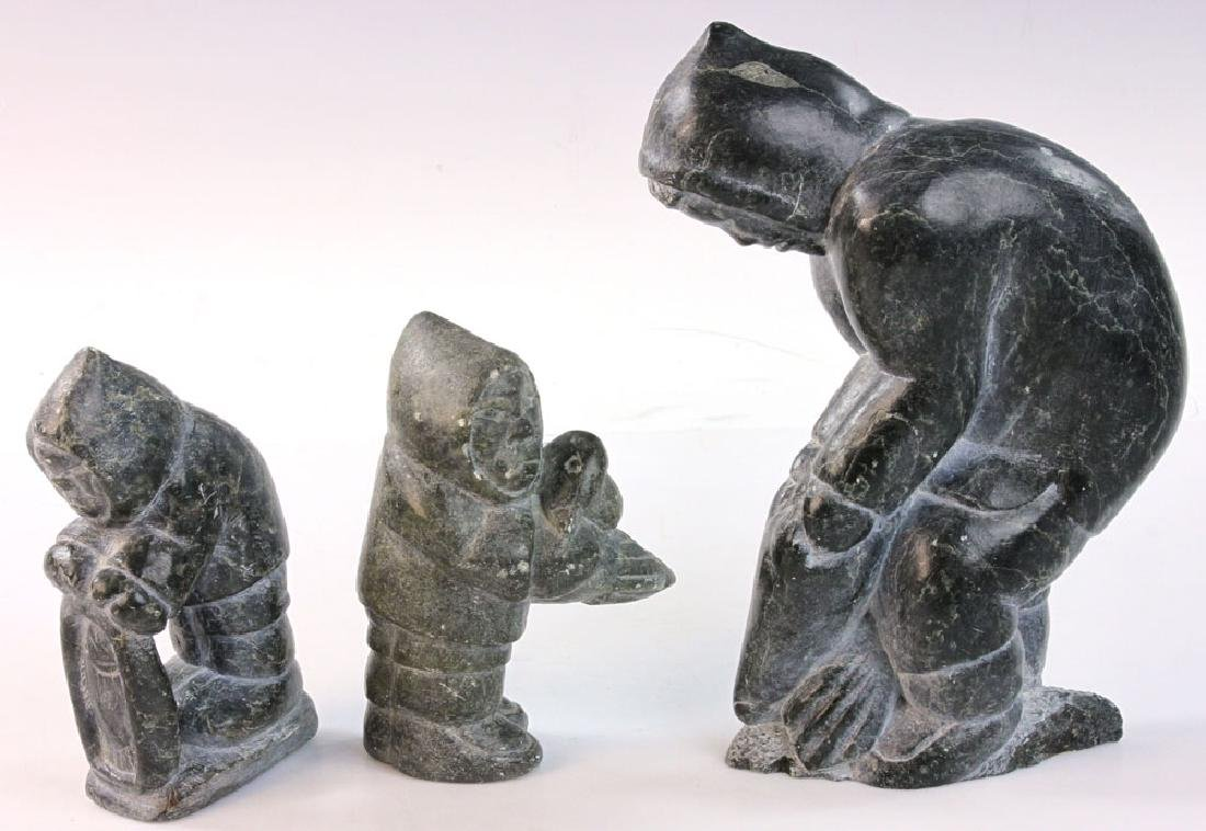 Three Inuit Carved Stone Figures