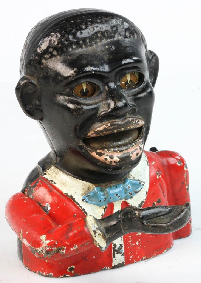 Jolly Black Man Cast Iron Mechanical Bank