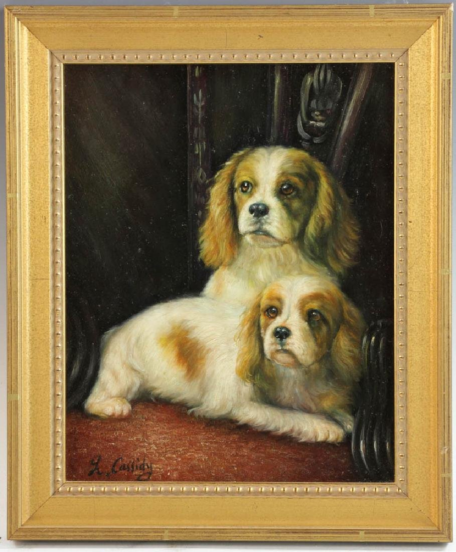 Cassidy, King Charles Spaniels, Oil on Board
