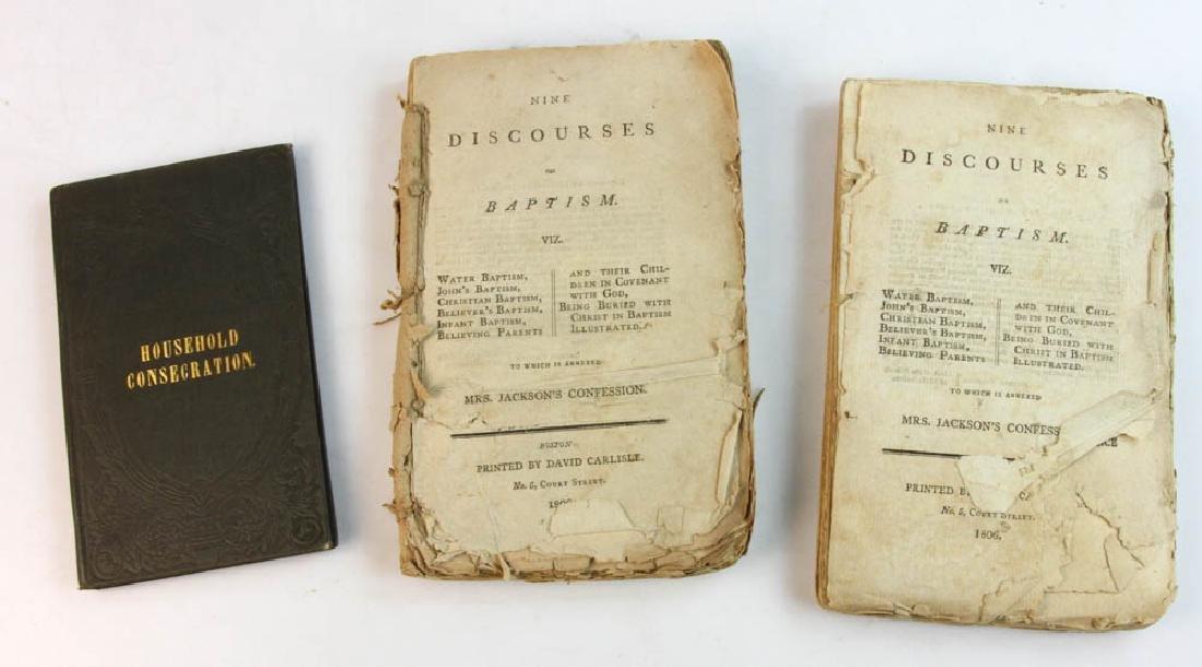 Group of Three 19thC Books on Baptism