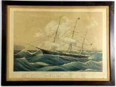N Currier Lithograph Clipper Ship Racer