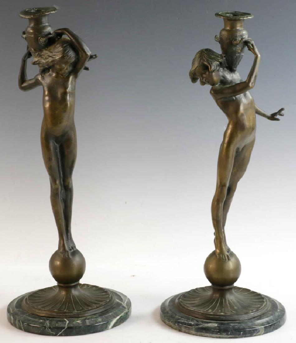 McCartan Art Nouveau Bronze Candlesticks