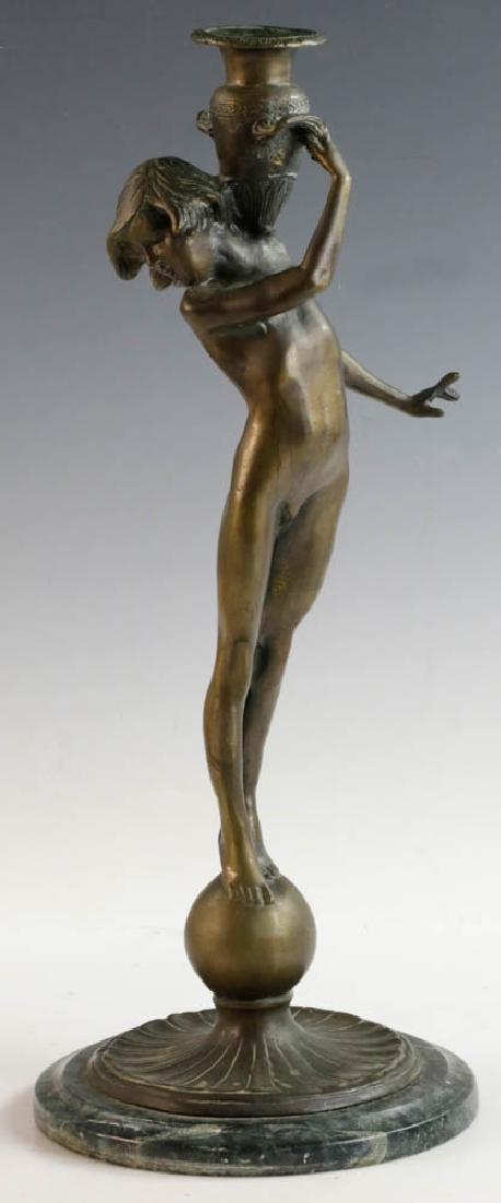 McCartan Art Nouveau Bronze Candlesticks - 2