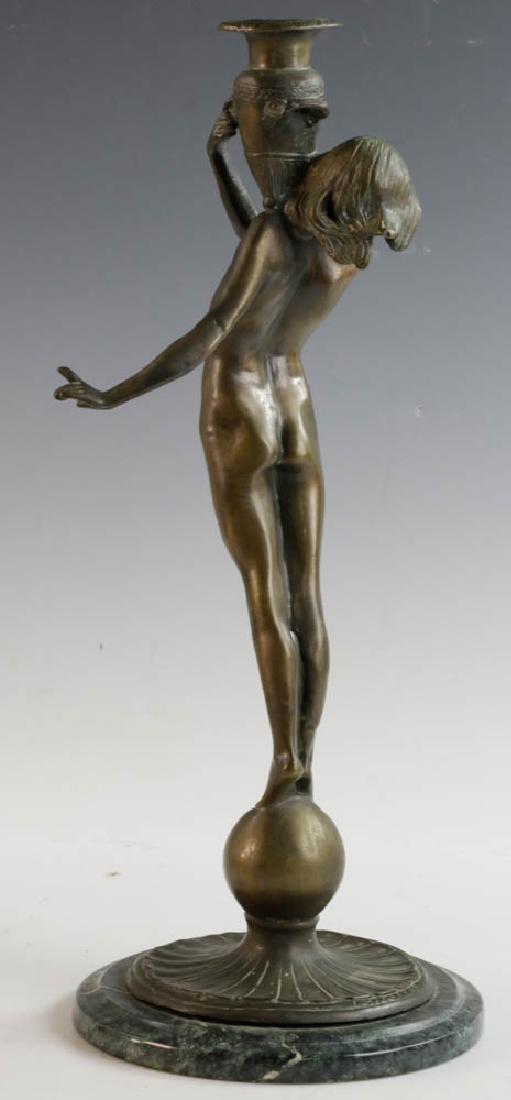 McCartan Art Nouveau Bronze Candlesticks - 3