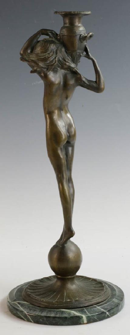 McCartan Art Nouveau Bronze Candlesticks - 8