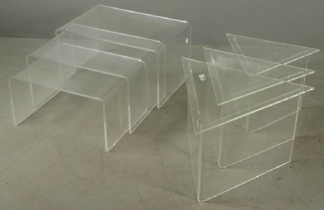 Two Sets Mid Century Modern Lucite Tables