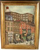 Attr to Alfred Mira New York Scene Oil on Canvas