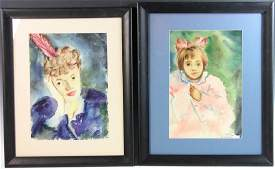 Jane Downs Carter Two Watercolors