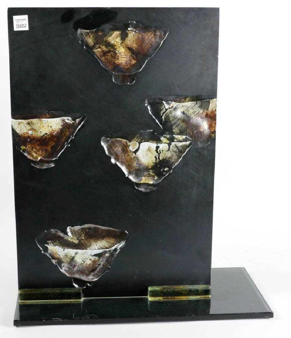 Glass Panel Sculpture Signed La Scola