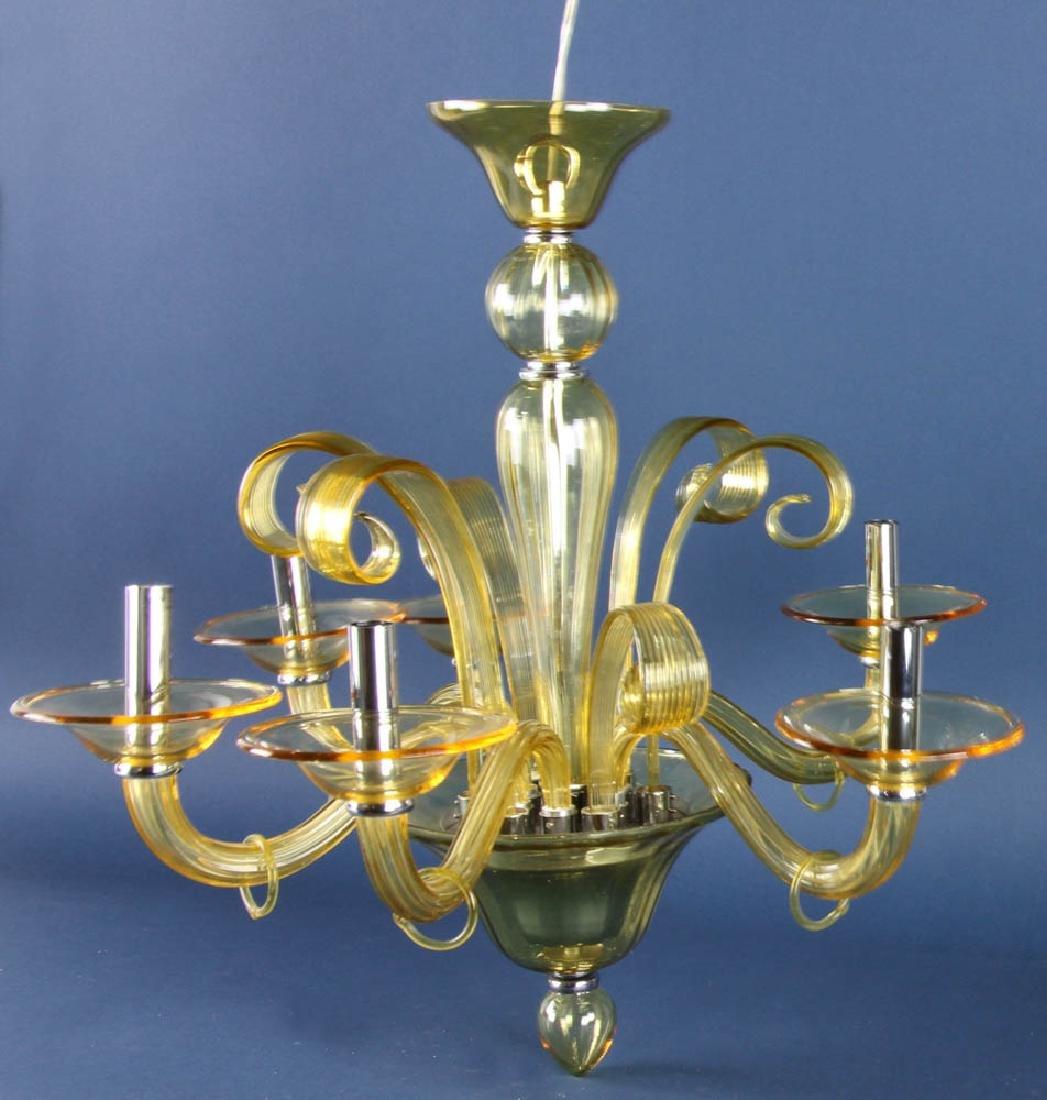 Italian Style Amber Glass Chandelier