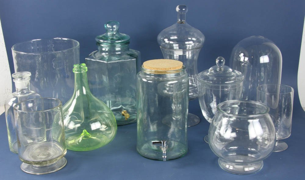 Group of (11) Glass Jars, Dispensers, Vases, etc.