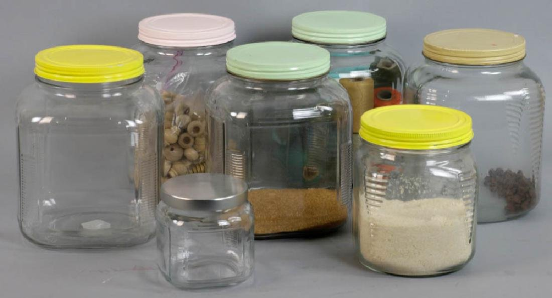 Group of Seven Glass Storage Containers