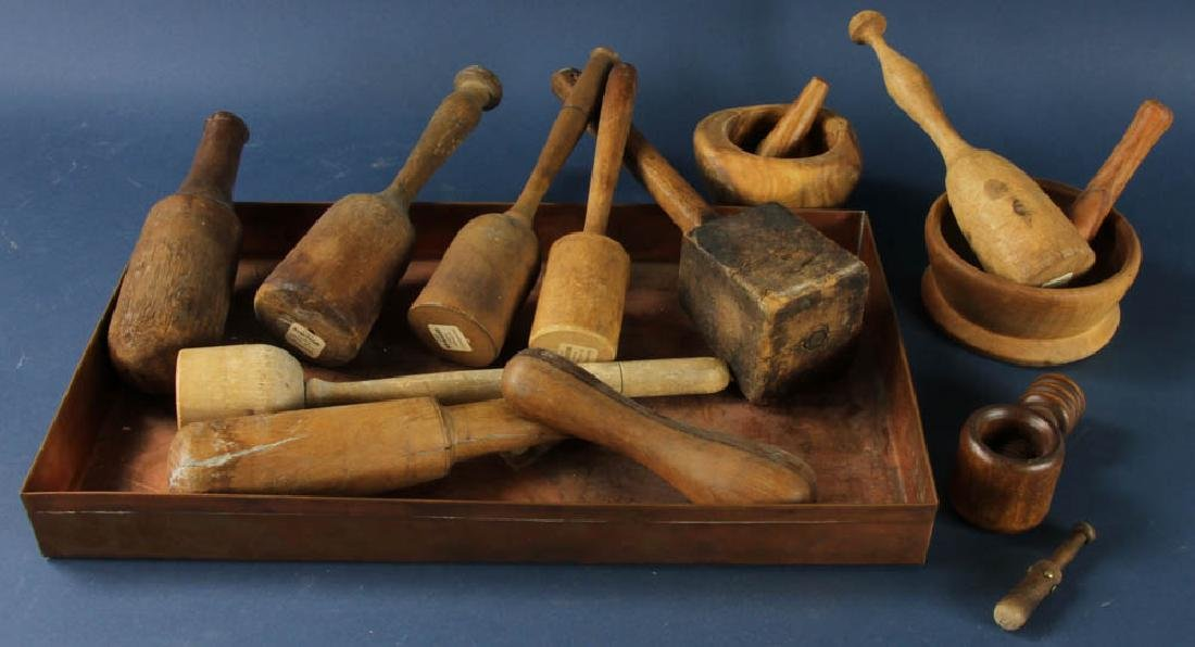 Group of Pestles, Mortars with Tray