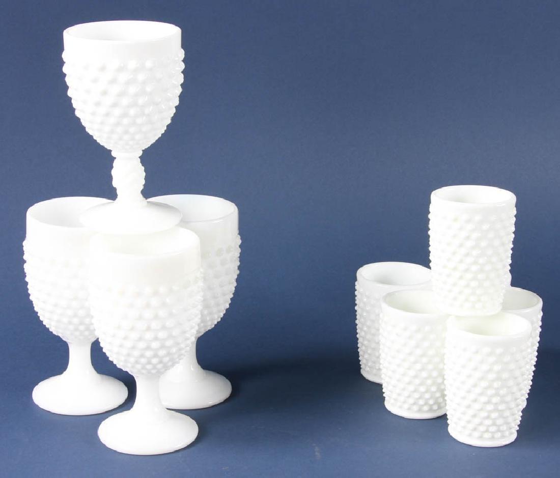 Group of Hobnail Milk Glasses