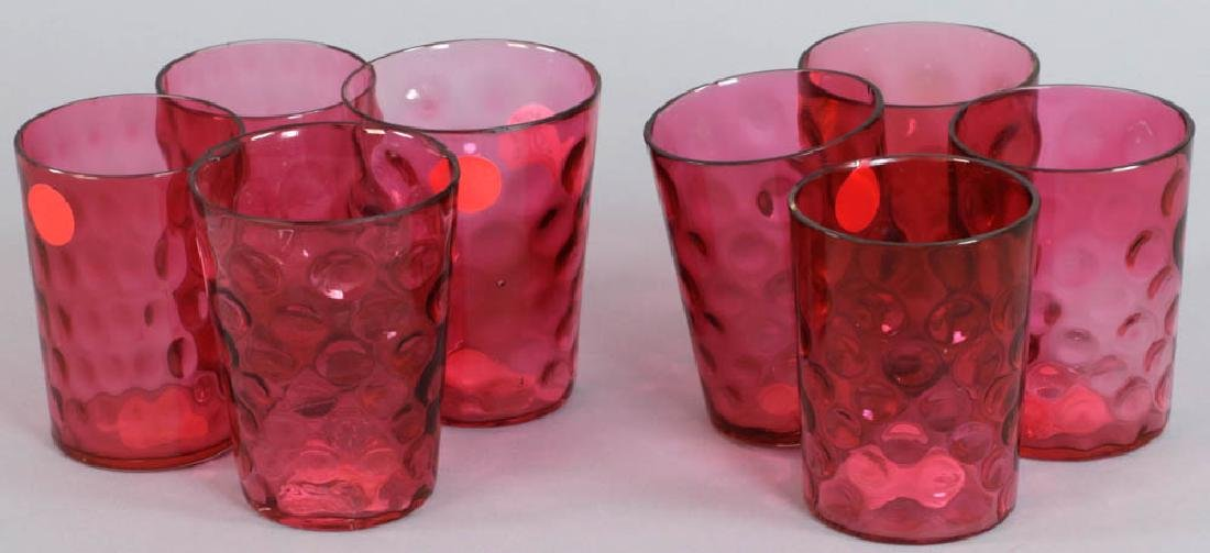 Group of Cranberry Colored Tumblers