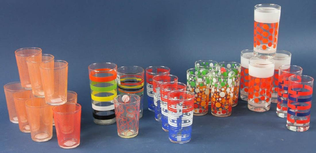 Group of Retro Style Water Glasses - 2
