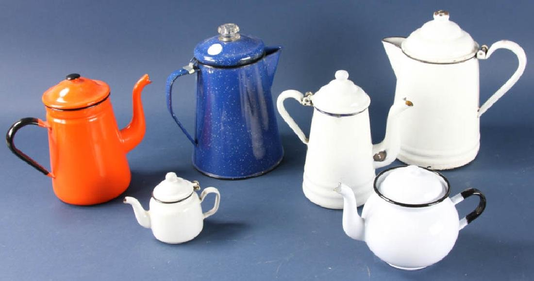 Group of Enameled Coffee Pots
