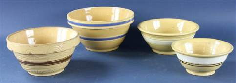Group of Antique Yellowware Bowls