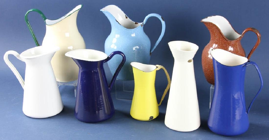 Group of Enameled Pitchers