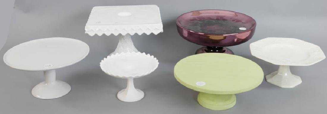 Group of Six Cake Stands 1 Rare Amethyst Mercury Glass