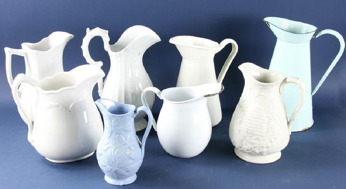 Group of Enameled and Porcelain Pitchers