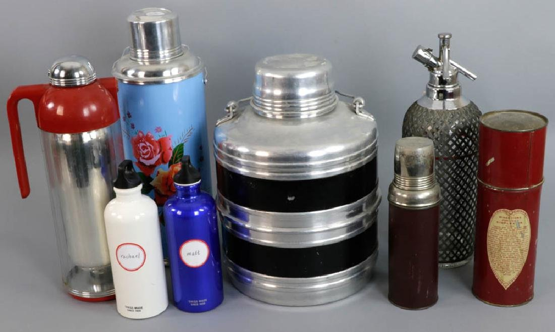 Group of Thermoses, Seltzer Bottle