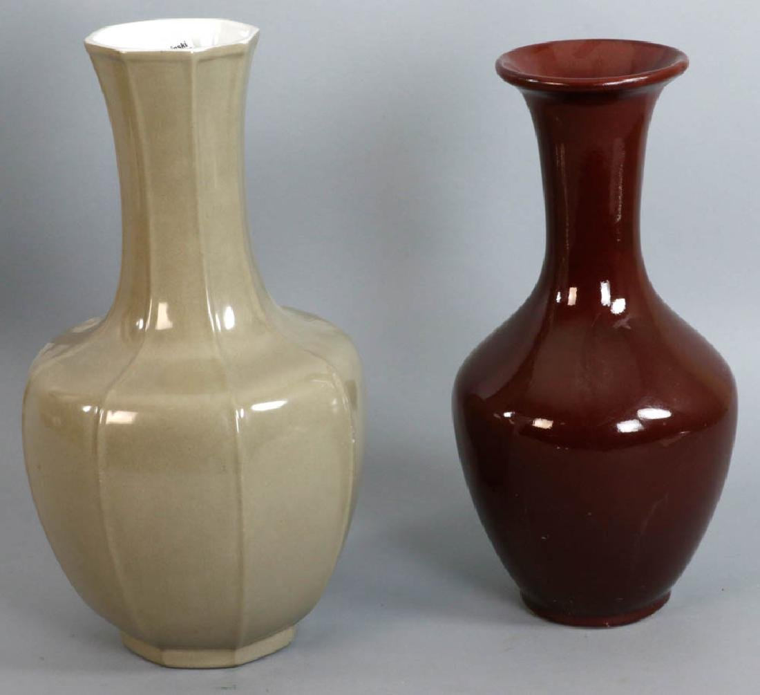 Two Vases, Pigeon Blood and Taupe Grey