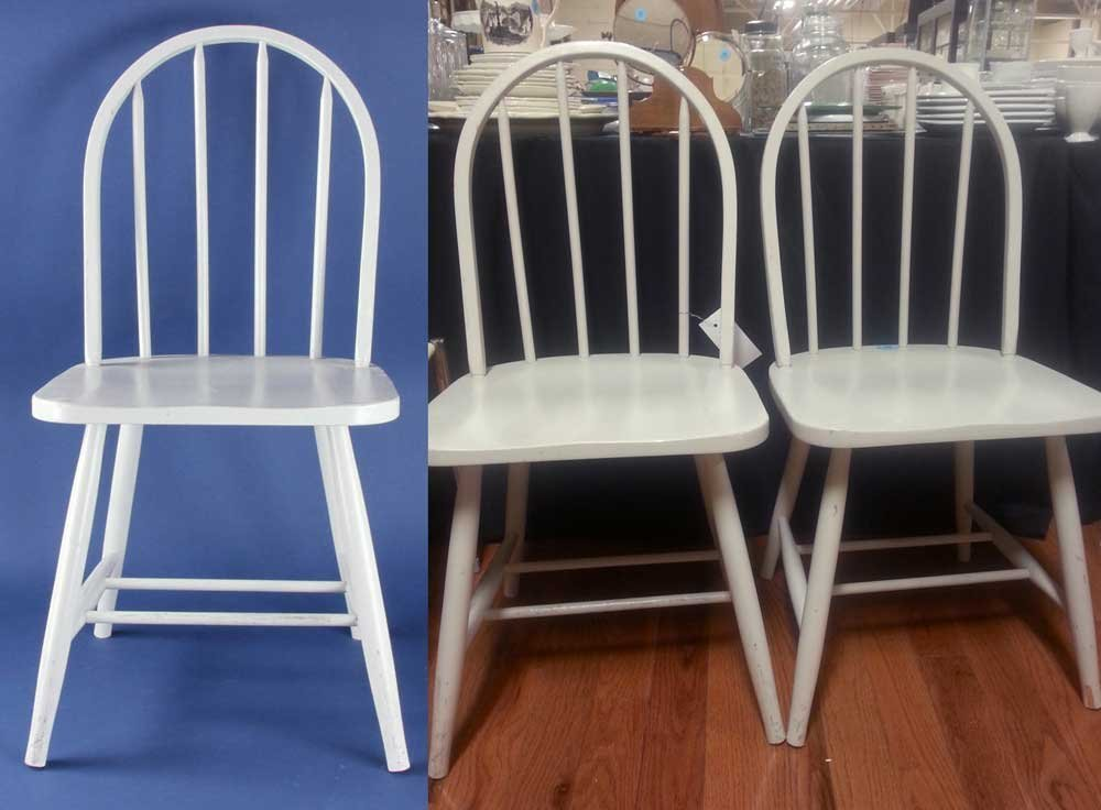 Three Painted Wood Chairs