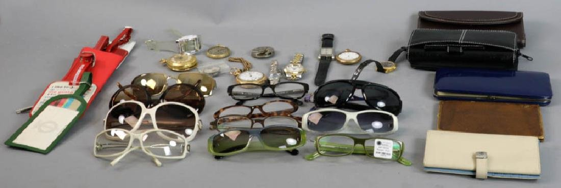 Assorted Vintage Wallets, Glasses, Watches