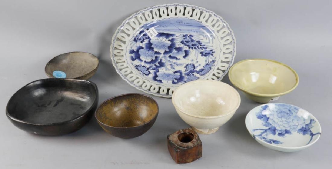 Group of Vintage Asian Bowls, Platter