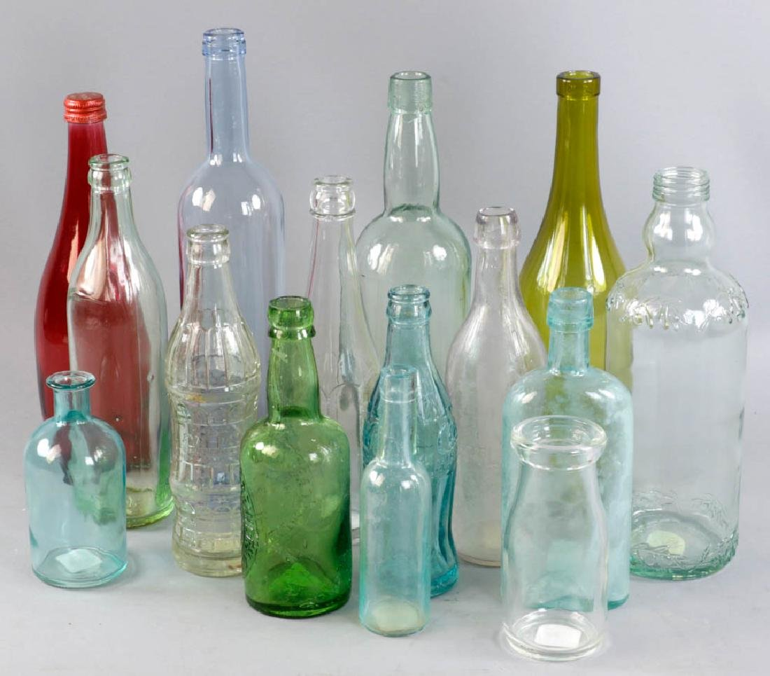 Group of Vintage Colored Glass Bottles