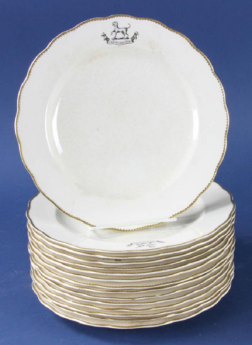 Antique Ivory Plates with Dog Shield