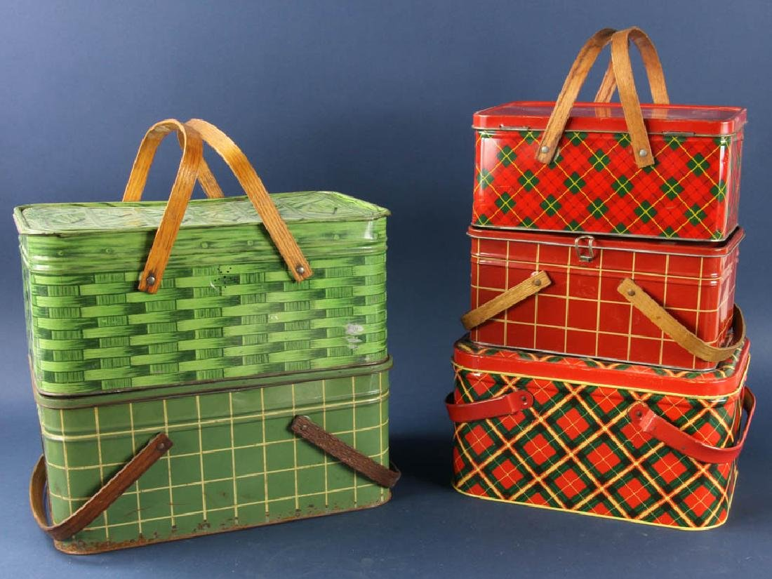 Group of Vintage Metal Picnic Boxes