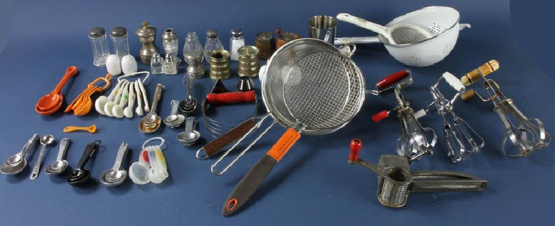 Group of Cooking Utensils, Salts, Peppers