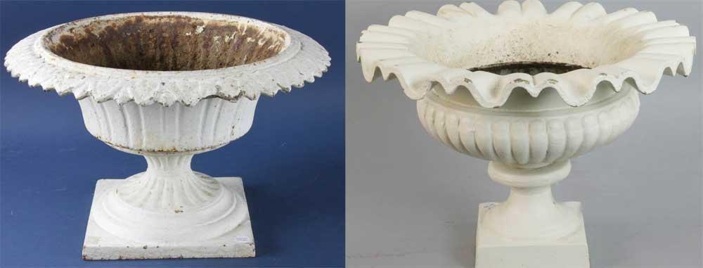 Two Vintage Cast Iron Urns