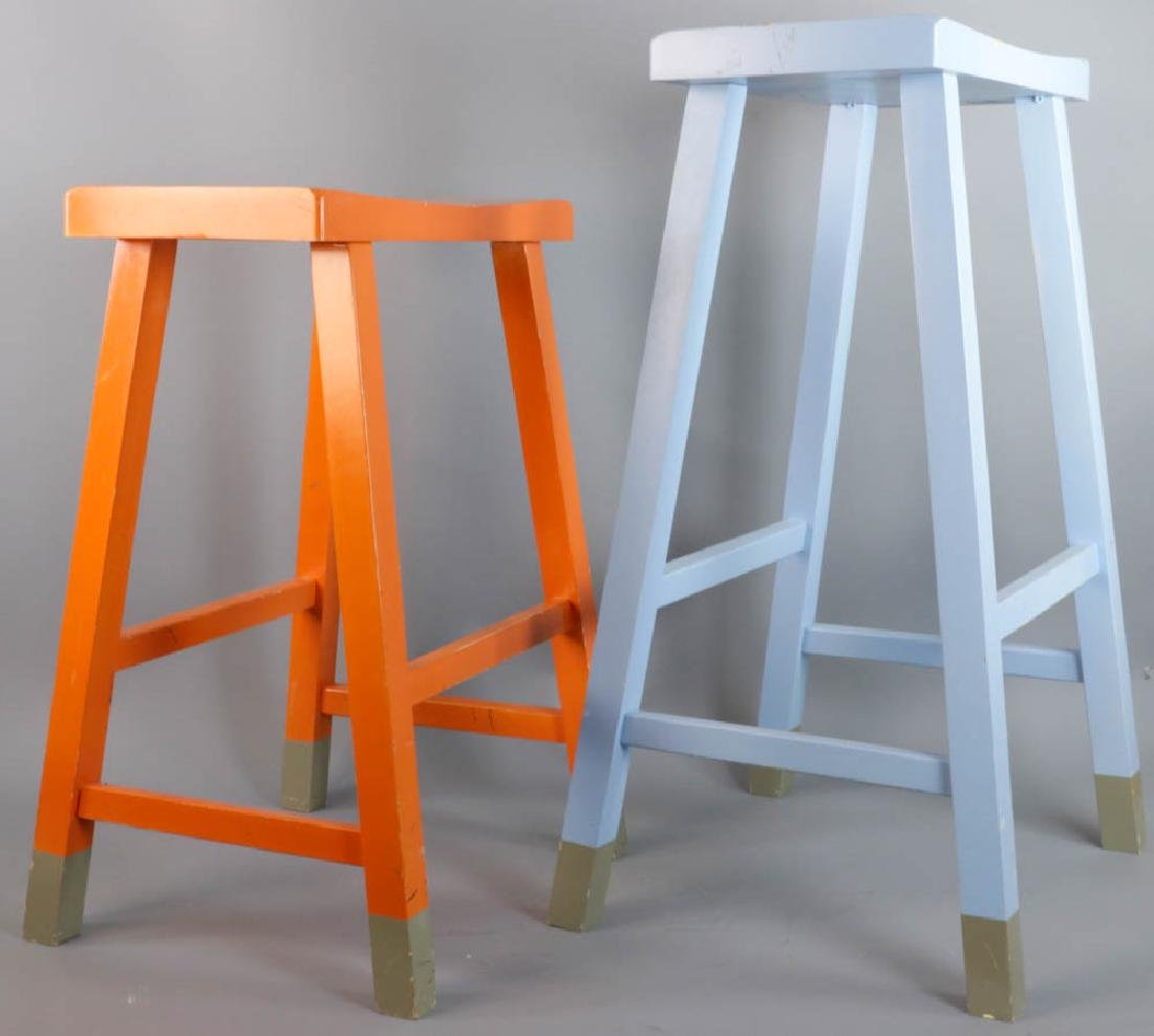 Two Painted Wooden Stools