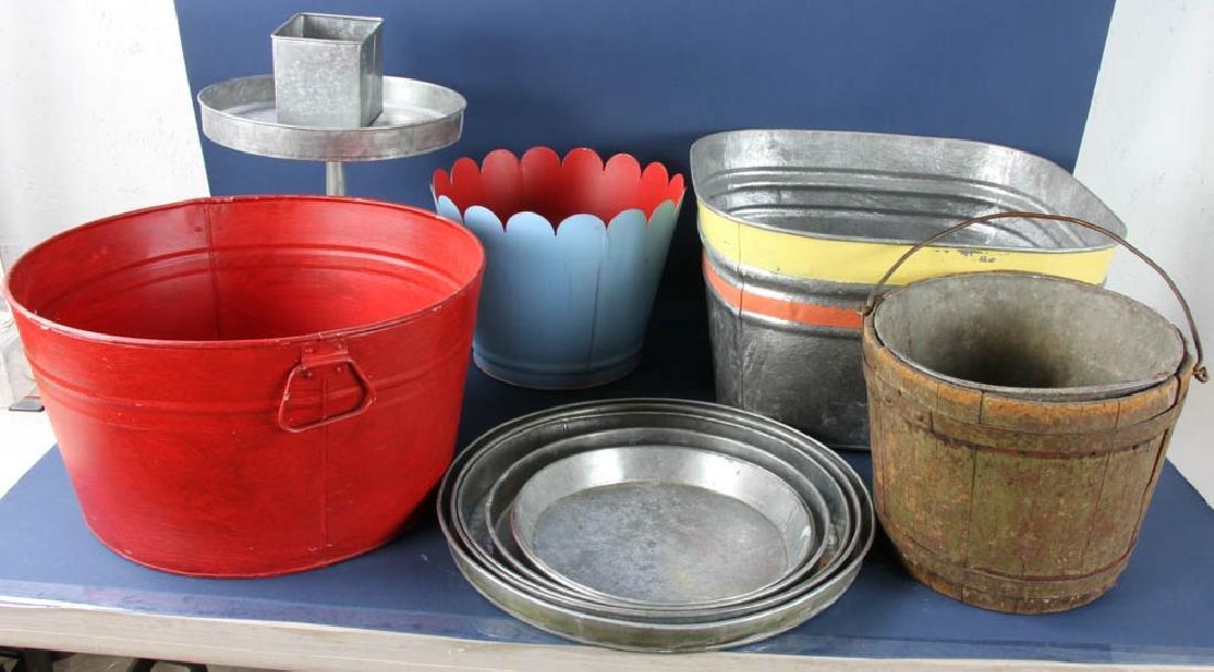 Group of Antique Galvanized Wash Buckets