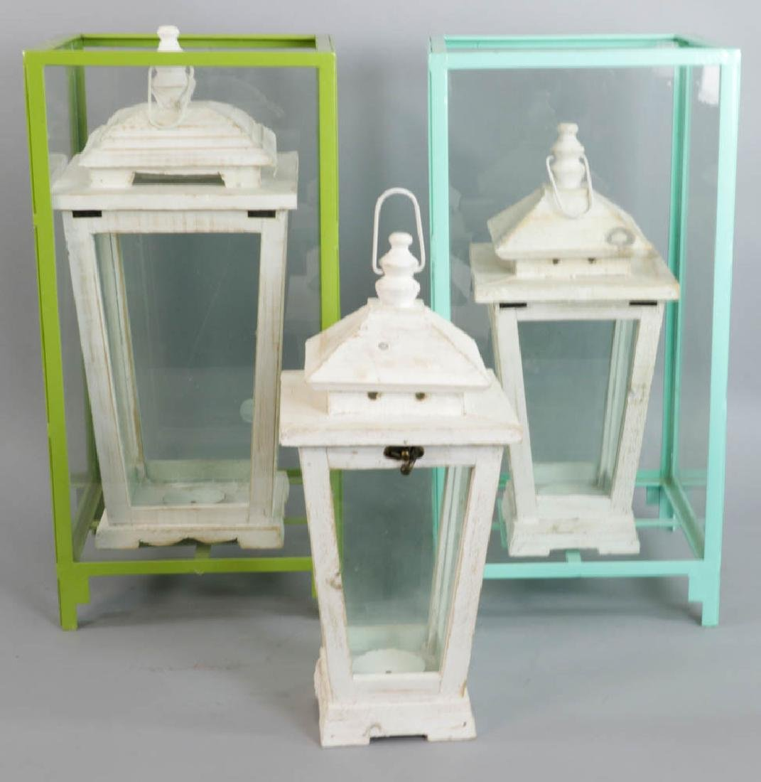 Group of Glass and Wood Lanterns