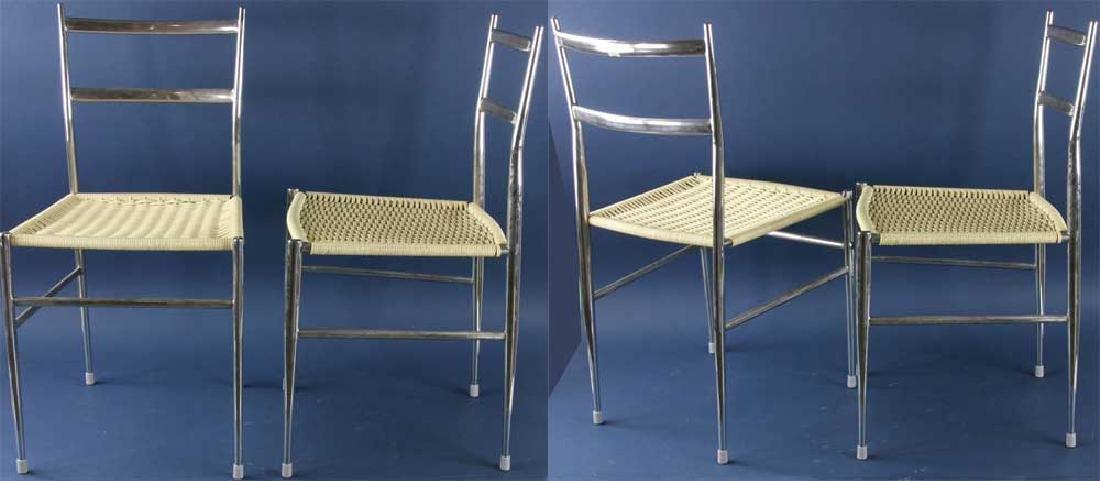 Set of Four Gio Ponti Style Chrome Chairs