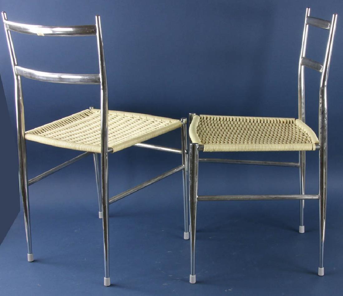Set of Four Gio Ponti Style Chrome Chairs - 2